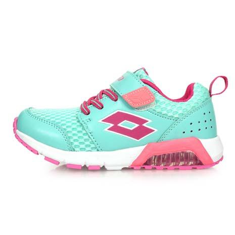 【LOTTO】男女中童果凍膠復古慢跑鞋 -路跑 魔鬼氈 童鞋 兒童 湖水綠粉紅22
