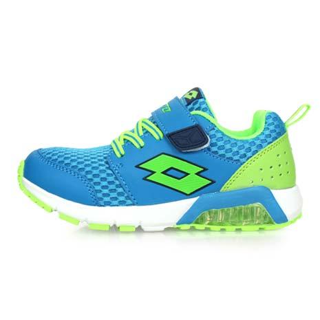 【LOTTO】男女中童果凍膠復古慢跑鞋 -路跑 魔鬼氈 童鞋 兒童 淺藍螢光綠19