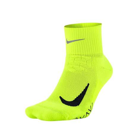 【NIKE】男精英跑步緩震襪-襪子 慢跑 路跑 中筒襪 螢光黃黑M