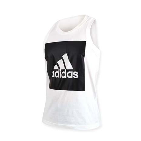 【ADIDAS】男運動背心-無袖背心 慢跑 路跑 純棉 愛迪達 白黑XL