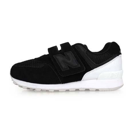 【NEWBALANCE】574系列 男女中童復古慢跑鞋-魔鬼氈-WIDE-寬楦 黑白18.5