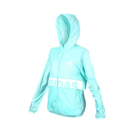 【ADIDAS】女風衣外套-慢跑 路跑 愛迪達 防風 連帽外套 粉綠L