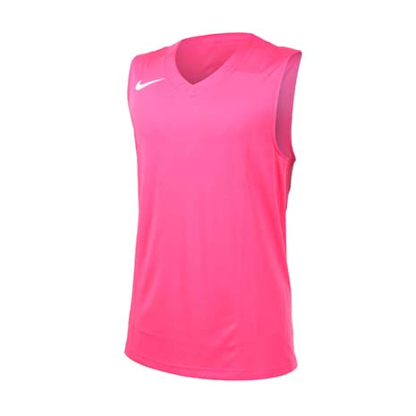 【NIKE】男運動背心-針織 籃球背心 慢跑 路跑 桃紅白S