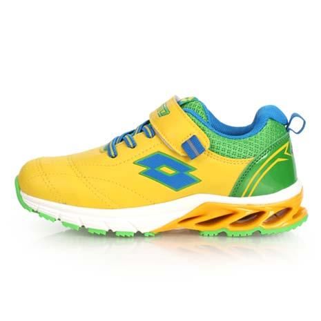 【LOTTO】男女中童碟型避震跑鞋-慢跑 路跑 魔鬼氈 童鞋 黃綠21.5