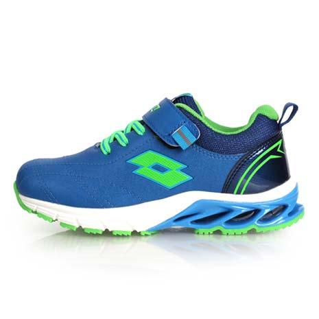 【LOTTO】男女中童碟型避震跑鞋-慢跑 路跑 魔鬼氈 童鞋 藍綠23