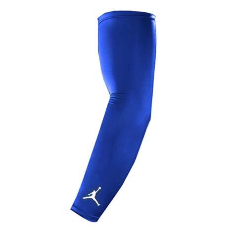 【NIKE】JORDAN DRI-FIT臂套-防曬 慢跑 單車 自行車 袖套 一雙入 藍白L
