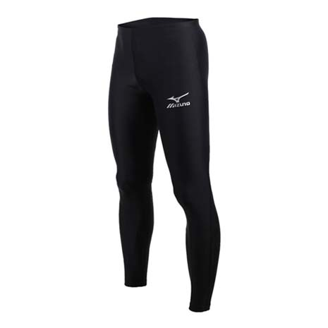 【MIZUNO】男女緊身長褲-慢跑 路跑 訓練 健身 美津濃 黑銀M