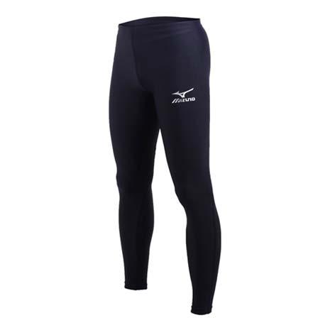 【MIZUNO】男女緊身長褲-慢跑 路跑 訓練 健身 美津濃 丈青銀S