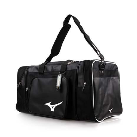 【MIZUNO】大型遠征袋-肩背包 側背包 手提袋 旅行袋 美津濃 黑白F