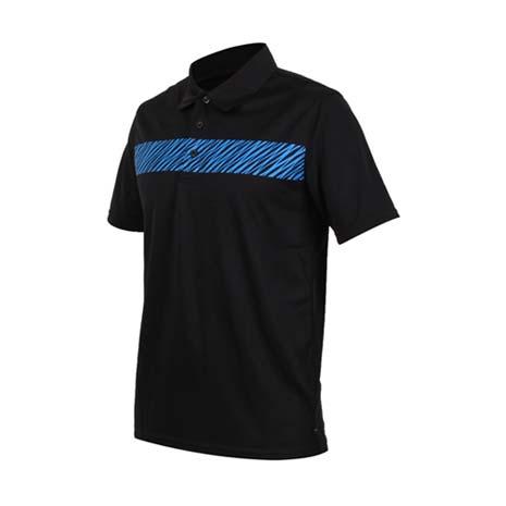 【FIRESTAR】男短袖吸排POLO衫-高爾夫球 立領 黑藍XL