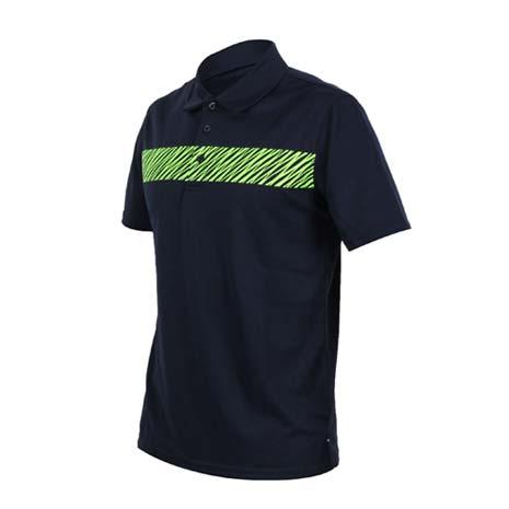 【FIRESTAR】男短袖吸排POLO衫-高爾夫球 立領 深藍螢光綠M
