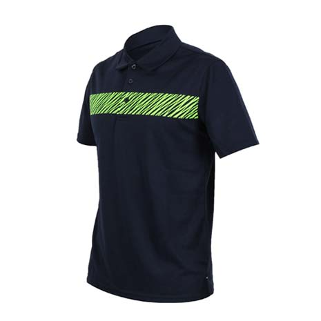 【FIRESTAR】男短袖吸排POLO衫-高爾夫球 立領 深藍螢光綠XL