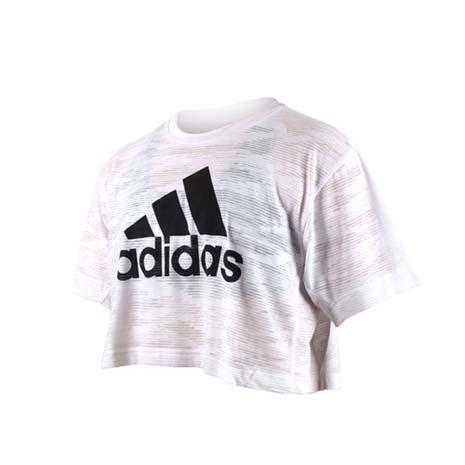 【ADIDAS】女短袖上衣-慢跑 路跑 短T T恤 愛迪達 白黑XL