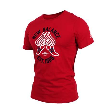 【NEWBALANCE】男短袖T恤-NB 紐巴倫 上衣 慢跑 路跑 休閒 暗紅黑M
