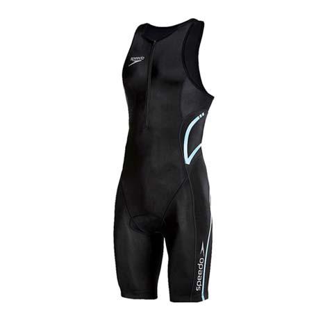 【SPEEDO】EVENT 男成人連身三鐵衣-緊身衣 游泳 單車 馬拉松 黑銀藍M