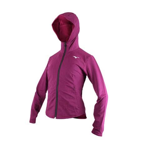 【MIZUNO】女針織外套-慢跑 路跑 立領 刷毛 連帽外套 美津濃 深紫白XL