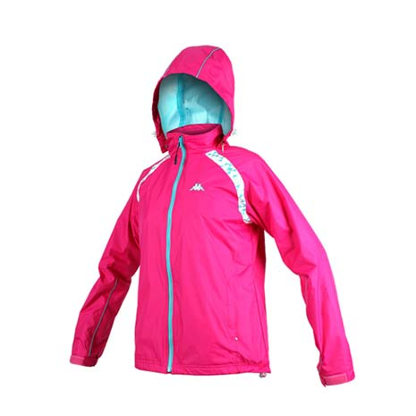 【KAPPA】女雙層風衣-可拆式連帽外套 立領 防風 防潑水 慢跑 路跑 桃紅藍L
