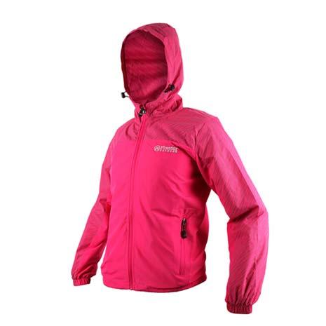 【FIRESTAR】女防潑水連帽外套-立領 慢跑 路跑 風衣外套 桃紅灰XL