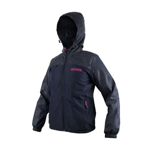 【FIRESTAR】女防潑水連帽外套-立領 慢跑 路跑 風衣外套 深藍桃紅XL
