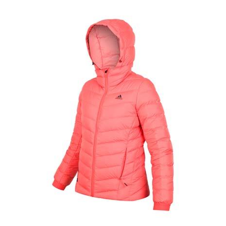 【ADIDAS】女羽絨外套-保暖 蓄暖 防寒 連帽外套 愛迪達 粉橘32