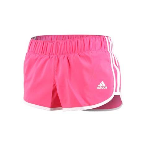 【ADIDAS】女運動短褲-慢跑 路跑 訓練 三分褲 愛迪達 桃紅白L