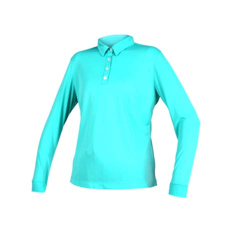 【WILDLAND】女疏水紗長POLO衫長袖上衣-慢跑 路跑 高爾夫 湖水綠