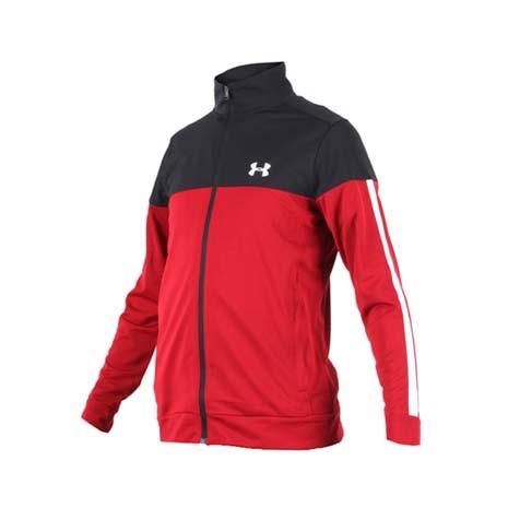【UNDER ARMOUR】SPORTSTYLE PIQUE 男外套-立領外套 慢跑 紅黑白M