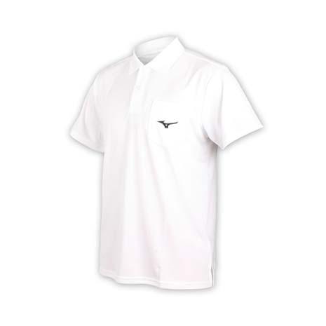 【MIZUNO】男短袖POLO衫-短袖上衣 高爾夫 網球 美津濃 白黑