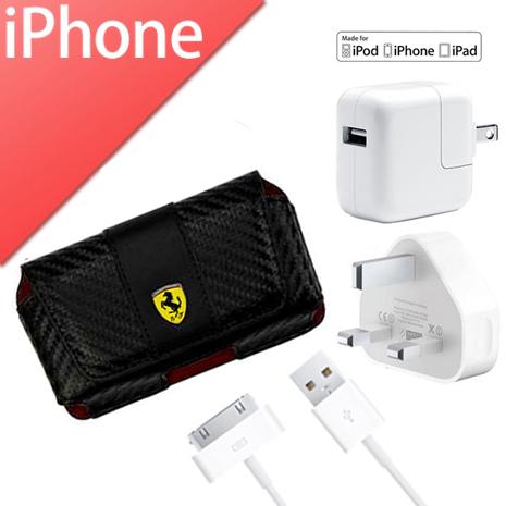 超值福袋組【Ferrari】法拉利腰掛橫式碳纖紋路皮套L(黑)+【Apple】原廠超值3入原廠旅充組-5W電源轉接器+30pin傳輸線+國際轉接頭(市價$1380)-手機平板配件-myfone購物