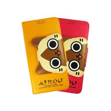 AIROU 艾路貓大頭款側翻皮套 HTC Butterfly S +【Hoobbe】口香糖造型立架-綠/粉紅