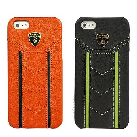 【藍寶堅尼】 iPhone5/5S Gallardo D1 橘色黑直紋真皮背蓋+ D1上掀皮套黑色綠直紋- 組合商品