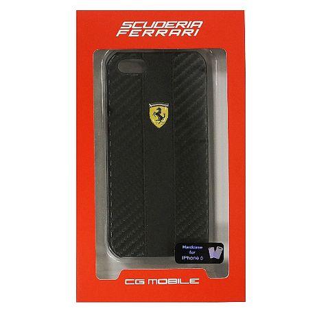 【Ferrari】法拉利黃色logo碳纖紋路背蓋-黑 iPhone 5/5S SE +【LOVE】愛心桌上收納座 紅/粉