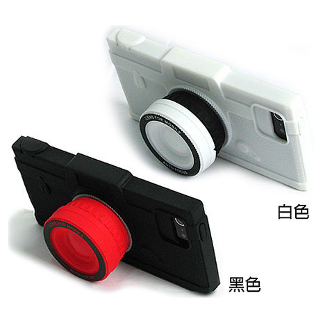 【限量超值組】iTake鏡頭造型矽膠保護套+捲線器組 Iphone5/5S SE白色