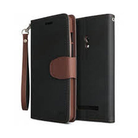 IPHOX側翻式皮套-Asus ZenFone2(ZE551/550ML)-黑棕+【Driinn】時尚手機充電架掛座-橘/綠/藍/粉/黑 隨機出貨