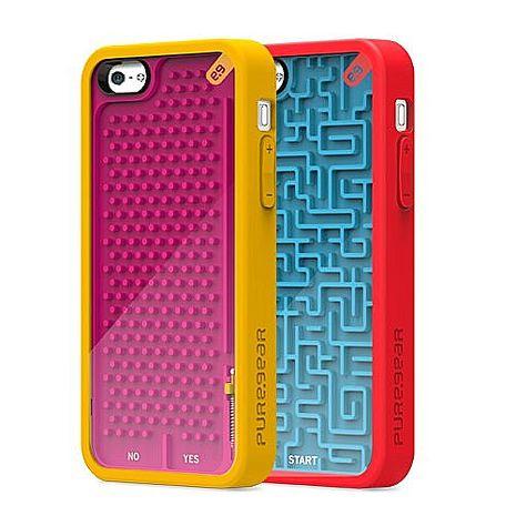 【美國PureGear 】iPhone5/5S/SE 小鋼珠遊戲軟膠保護殼-鋼珠台 +【LOVE】愛心桌上收納座 紅/粉