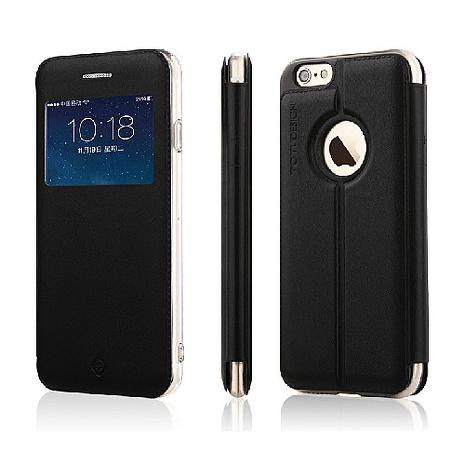 【TOTU】開窗側翻皮套-iPhone6/6S 黑色+ 【Hoobbe】火柴棒造型觸控筆