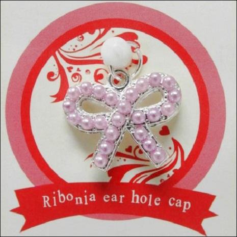 【3.5mm耳機塞 】珍珠蝴蝶結造型 + 【Disney】Marie瑪麗貓收納套 (白)
