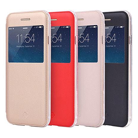 【TOTU】開窗側翻皮套-iPhone6 /6s Plus 5.5吋 黑/紅 +【Homade 】蠟筆造型觸控筆 六色 (隨機)紅色