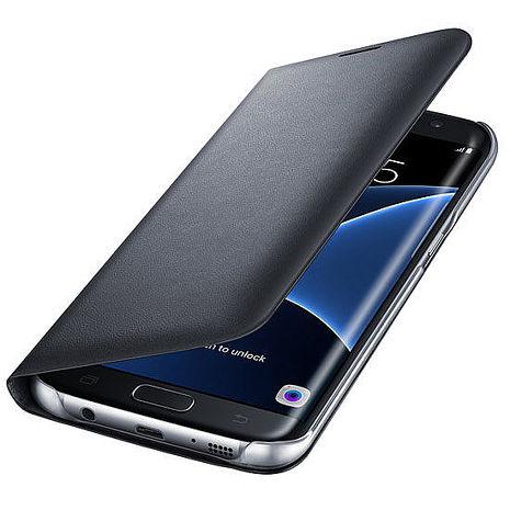 【三星原廠】 SAMSUNG Galaxy S7 Edge LED 皮革側翻皮套 黑色