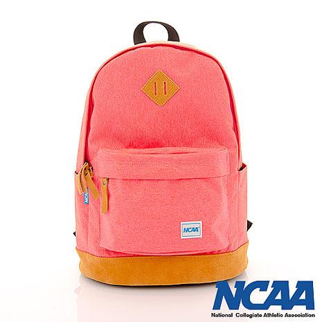NCAA 真皮厚底豬鼻設計簡單後背包(桃粉紅)