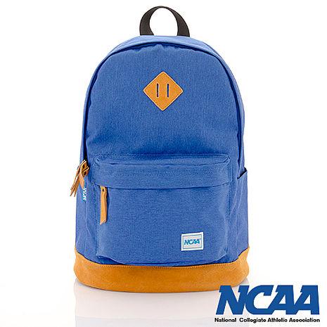 NCAA 真皮厚底豬鼻設計簡單後背包 正藍色