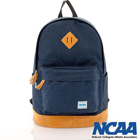 NCAA 真皮厚底豬鼻設計簡單後背包 (深藍色)