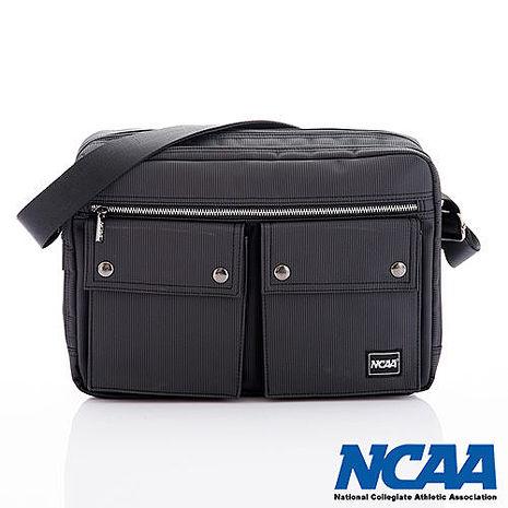 NCAA 側背波特包 紳士餅乾包 直紋尼龍隨身機車斜大包 黑色