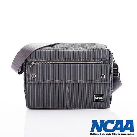 NCAA 側背波特包 紳士餅乾包 直紋尼龍隨身機車斜中包 深灰色