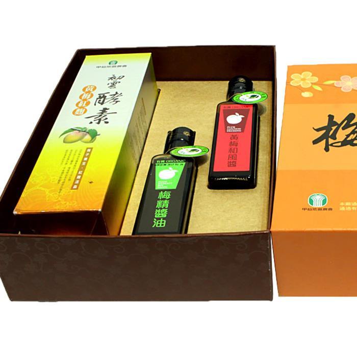 【甲仙農會】有機梅宴芳禮盒 (黃梅紅麴酵素+有機黃梅和風醬+有機梅精醬油)