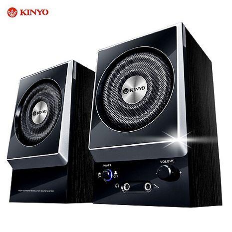 KINYO'剛毅'二件式耳麥全木質防磁擴大音箱(KY-1007)