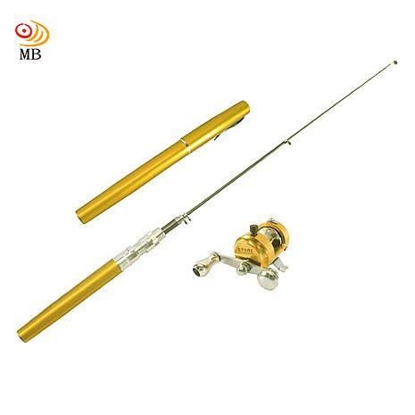 月陽鋼筆型鋁外殼碳纖維小釣竿全套組(F-1213)金色