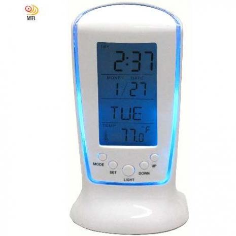 ~特價~月陽藍色冷光萬年曆溫度計倒計時多功能鬧鈴秘書(510)