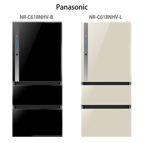 【Panasonic.國際牌】ECO NAVI+nanoe.610L三門變頻電冰箱/光釉黑(NR-C618NHV)
