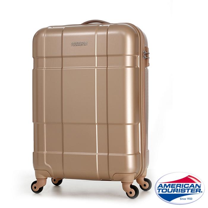 AT美國旅行者 22吋Ventura立體方格四輪拉桿TSA硬殼行李箱(香檳金/碳黑)(特賣)碳黑